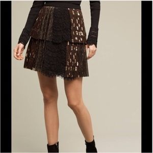 Anthro HARLYN SOHO Mini Skirt Black Gold Tiered